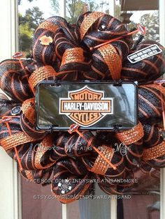 Harley Davidson Wreath Motorcycle Wreath  by Cindyswreathsand, $125.00