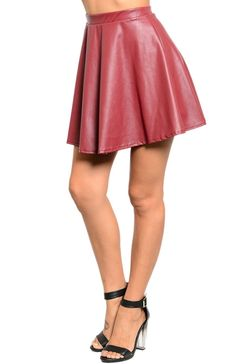 Faux Leather Flared Skater Skirt
