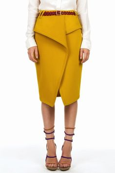 Proenza Schouler mustard yellow blanket wrap skirt