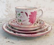 4 Pcs; English Pink Lustreware w/ Copper Edge Tea Cup, Saucer, Bread & Desert