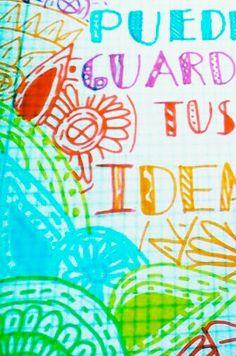 Hola,espero que os guste este dibujo que dice:aquí puedes guardar tus ideas.🎨👍