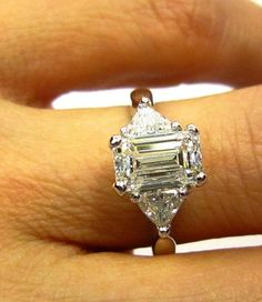 Stunning..2.01ct Estate Vintage Emerald Cut Diamond GIA G VS1 Engagement Wedding Anniversary Ring with 2 Trillions in Platinum on Etsy, $12,995.00 by marianne