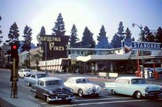 Cars stopped at the intersection of Sunset and La Brea - 1965.