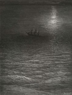 The moving Moon went up the sky - from The Rime of the Ancient Mariner - by Paul Gustave Dore - Plate 19 (Jonnard, wood engraver)