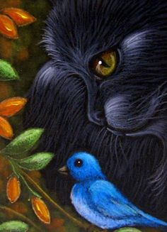 BLACK CAT & BLUE BIRD Media:Acrylics, Colored Pencils, Pastels, Glitter, by Cyra R. Cancel.