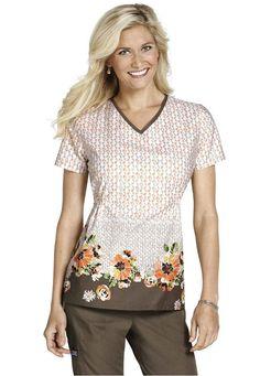 Cherokee Symphony Of Spring print scrub top. - Scrubs and Beyond #scrubs #uniforms #flowers #brown #orange #pink #fashion #style #healthcare #RN #CNA #nursing #pretty
