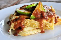 Waffle Recipe :: Salted Caramel Apple Waffle Recipe from addapinch.com