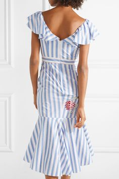 Temperley London | Bella embroidered striped cotton-blend midi dress | NET-A-PORTER.COM