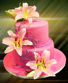 Stargazer Lily Cake ― House of Cakes Dubai Little Girl Birthday Cakes, Pink Birthday Cakes, Novelty Birthday Cakes, Stargazer Lily Wedding, Stargazer Lilies, Wedding Flowers, Jasmine Cake, Extreme Cakes, Lily Cake