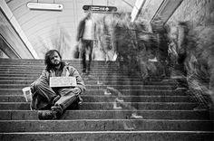 Subway beggar