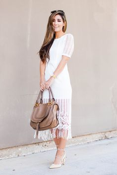 The Darling Detail wearing JOA white dress from Nordstrom