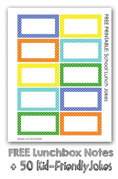 Printable Kids Lunchbox Notes: Over 50 Kid-friendly Jokes *Plus healthy lunch ideas for back-to-school. Great resource for parents.