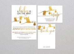 Gold Stork Baby Shower Invitation Set - Customized Digital Printable DIY…