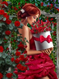 Ethereal Beauty, Female Art, Cute Art, Red Color, Woman Art, People, Cactus, Dresses, Fashion