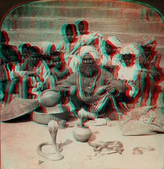 Snake Charmer, India anaglyph 3D by depthandtime, via Flickr