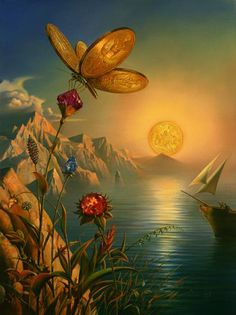 """Treaseure Island"" in 2005 by Vladimir Kush (Moscow, 1965). Surrealist painter and sculptor. His oil paintings are also sold as giclée prints which contributed to his popularity. Kush himself refers to it as ""metaphorical realism"" and cites the early influence on his style of Salvador Dalí's surrealist paintings as well as landscapes by the German romantic painter Caspar David Friedrich."