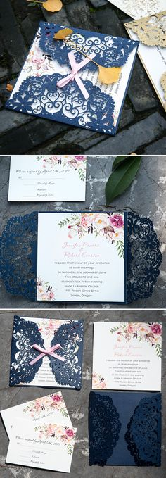 Navy blue and floral laser cut wedding invites#navyblue#ElegantWeddingInvites