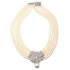 Mikimoto Five Strand Pearl Diamond White Gold Choker Necklace | From a unique collection of vintage multi-strand necklaces at https://www.1stdibs.com/jewelry/necklaces/multi-strand-necklaces/