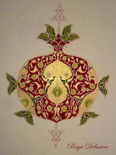 How beutiful is this pomegranate design? Arabesque, Pomegranate Art, Illumination Art, Persian Pattern, Islamic Patterns, Turkish Art, Islamic Art Calligraphy, Illuminated Manuscript, Pattern Art