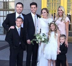 Chris and Alta Osmond pose on their wedding day with Chris' brother Jeremy and his family: wife Melisa, children Dylan, Emery and Ryder