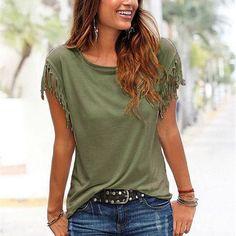 Lightweight Women's O-Neck T-Shirt With Tassel Sleeves