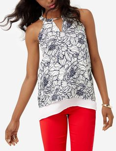Layered Floral Halter Top | Printed Metal Accent Top | THE LIMITED