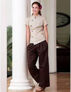 SPA Uniforms Women's Short Sleeve Mandarin Collar Spa Smock Salon Uniform, Spa Uniform, Hotel Uniform, Style Uniform, Staff Uniforms, Medical Uniforms, Work Uniforms, Beauty Uniforms, Uniform Design