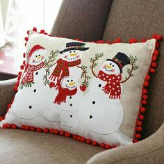 This rectangular decorative pillow features a Snowman Family of four, attired in hats, scarves, and mittens on a linen-colored background. Christmas Sewing, Christmas Pillow, Christmas Snowman, Christmas Crafts, Christmas Decorations, Christmas Ornaments, Christmas Cushions To Make, Snowman Decorations, Snowman Ornaments