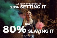 "When it comes to accomplishing a goal, Nadalie reveals what many of us are guilty of: too much planning, not enough ""slaying."" Reaching our goals seem simple with her 20/80 rule."