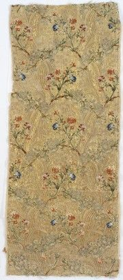 French Lyon, Cloth of Gold, ca. 1750-1769, Silk and metallic thread ribbed weave with discontinuous patterning wefts; 129.5 cm (51 inches) (length), Gift of Marshall H. Gould 46.256, from the collections of Rids Museum http://risdmuseum.org/art_design/objects/637_cloth_of_gold