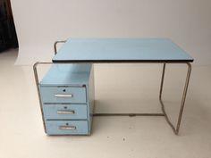 Vintage Art Deco Bauhaus Stahlrohr Schreibtisch
