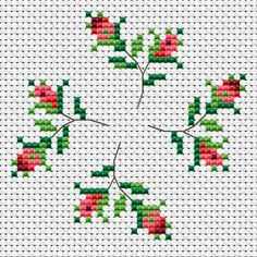 A small and beautiful composition with four rosebuds that will enrich your collection of embroidered flowers. Cross Stitch Beginner, Funny Cross Stitch Patterns, Small Cross Stitch, Vintage Cross Stitches, Cross Stitch Rose, Cross Stitch Borders, Modern Cross Stitch, Cross Stitch Flowers, Cross Stitch Designs