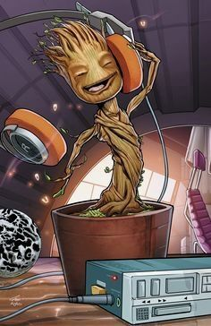 """from Guardians of the Galaxy. """"I am Groot"""". Baby Groot grooving to some music. Baby Groot, Marvel Comics, Marvel Heroes, Marvel Avengers, Groot Comics, Captain Marvel, Thanos Marvel, Digital Art Illustration, Deco Gamer"""