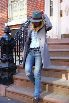 Brooklyn Blonde's Helena Glazer in 'Top That' wearing Aritzia coat, J.Crew denim shirt, Paige jeans, Belle by Sigerson Morrison booties, and hat from Bailey.
