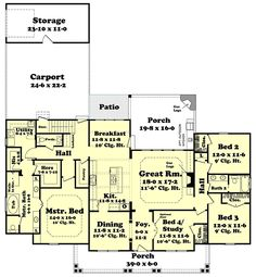 Country Craftsman Southern Traditional Level One of Plan 56919