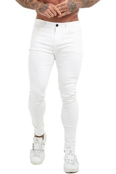 Maison Non Ripped Spray On Jeans - White 5 Pockets White Jeans Stretch Denim Zipper Closure High Waisted Machine Wash Skinny Fit Denim Cotton, Elastane Model: is wearing size 32 Low Rise Skinny Jeans, White Skinny Jeans, Skinny Fit, Ripped Knee Jeans, Acid Wash Jeans, Mens Spray On Jeans, Seven Jeans, Types Of Jeans, Mens Windbreaker