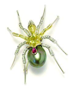 Spider Sparkly Brooch