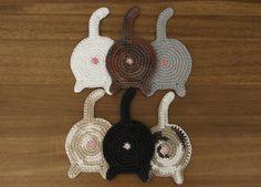 Cat Butt Coasters Set of Four by hooksandballs on Etsy