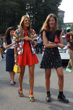Fashion Week Spring 2014 All the Best Street Style Straight From Milan Fashion Week! >>> Anna Dello Russo was rainbow-bright perfection, while her showgoing companion kept it cool in a printed dress and tough-girl footwear. Anna Dello Russo, Best Street Style, Cool Street Fashion, Star Fashion, Paris Fashion, Fashion Editor, Fashion Trends, Street Looks, Moda Paris