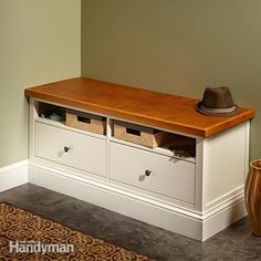 Hack an Ikea Hemnes TV unit to create a classic mudroom bench by fastening base molding and a new top to a cabinet designed to display a flat-screen TV.