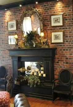first project Mark and I made for the shop - a custom fireplace, finished with Vermont Slate and gilding. (Luv this black fireplace) Red Brick Fireplaces, Fake Fireplace, Black Fireplace, Custom Fireplace, Fireplace Surrounds, Fireplace Design, Fireplace Ideas, Fireplace Hearth, Shiplap Fireplace