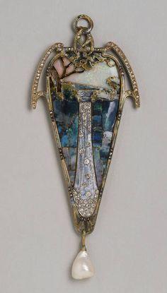 Alphonse Mucha - Waterfall Pendant. Gold, Diamonds, Opal, Fresh-Water Pearl and Enamel. Circa 1900.
