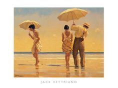 """Jack Vettriano's """"Mad Dogs"""" radiates his brilliant command of color and his personal technique for enlivening brushwork. Vettriano is one of Britain's favorite artists, and is know for tirelessly painting around the clock until a piece is done."""