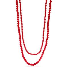 Kim Rogers  Silver-Tone Holiday Beads Long 2-Row Beaded Necklace ($18) ❤ liked on Polyvore featuring jewelry, necklaces, red, beading jewelry, beaded jewelry, charm necklaces, red necklace and red jewelry