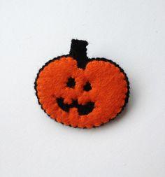 Wool Felt Pin Badge Halloween Pumpkin Jack 'o Lantern by KOOSHKA, £4.50
