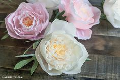 Make these gorgeous peonies with floral crepe and a few other supplies. Template and tutorial included.