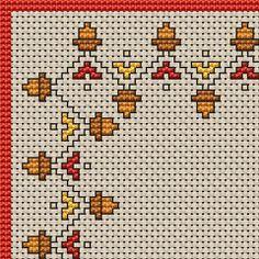 Embroidery leaf border cross stitch 15 ideas for 2019 Easy Cross Stitch Patterns, Cross Stitch Fabric, Cross Stitch Borders, Cross Stitch Art, Simple Cross Stitch, Cross Stitch Designs, Cross Stitching, Embroidery Leaf, Cross Stitch Embroidery