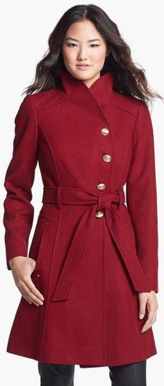 Asymmetrical Wool Blend Coat