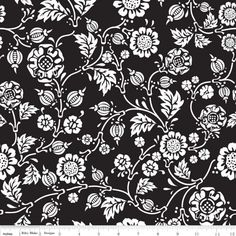 Rosecliff Vine Black Width: 112cm 100% Cotton Priced by the metre and sold in 1m increments.