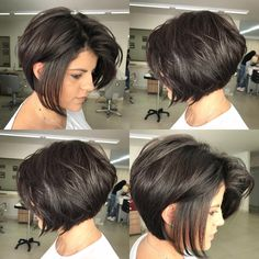 Dark Brown Textured Bob with Root Lift